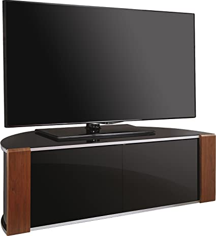 "MDA Designs Sirius 1200 BeamThru Remote-Friendly Gloss Black with Walnut & Oak Interchangeable Trims 32""-52"" Flat Screen TV Cabinet"