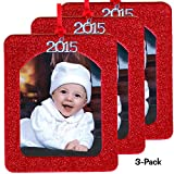 2015 Magnetic Glitter Christmas Photo Frame Ornaments, Vertical 3-pack - Red