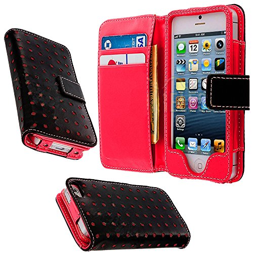 Mylife (Tm) Scarlet Red And Punk Black- Modern Design - Textured Koskin Faux Leather (Card And Id Holder + Magnetic Detachable Closing) Slim Wallet For Iphone 5/5S (5G) 5Th Generation Itouch Smartphone By Apple (External Rugged Synthetic Leather With Magn
