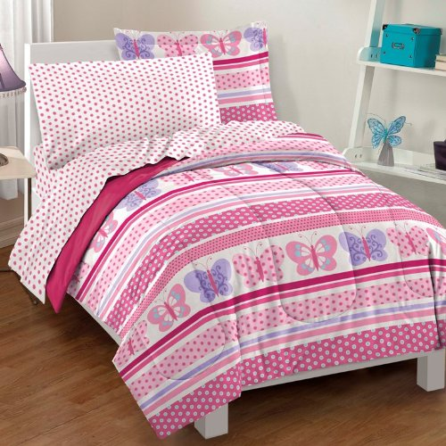 Dream Factory Butterfly Dots Ultra Soft Microfiber Girls Comforter Set