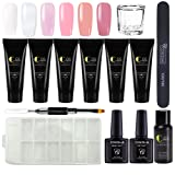 Coscelia Nail Enhancement Gel Kit Nail Extension Gel Trial Kit Poly Nail Gel Professional Nail Technician All-in-One French Kit (Color: 1030)