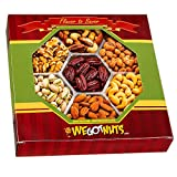 We Got Nuts 2 Pounds 7 Sectional Nuts Gift Tray- Healthy, Kosher : Roasted Almonds, Roasted Salted Cashews, Roasted Salted Pistachios, Raw Walnuts, Nut Mix, Honey Glazed Pecans, Glazed Peanuts