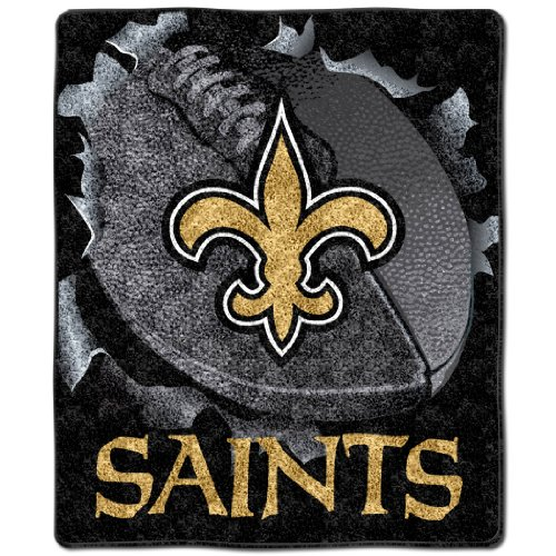 """Nfl New Orleans Saints 50-Inch-By-60-Inch Sherpa On Sherpa Throw Blanket """"Burst"""" Design front-502630"""