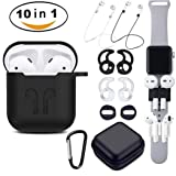 Airpods Case, Airpods Accessories Kit,10 in 1 Protective Silicone Cover and Skin Compatible Apple Airpods with Anti-Lost Airpods Strap,Airpods Ear Hook/Watch Band Holder/Keychain/Headset Box/ (Black) (Color: Black, Tamaño: AirPods Case black)