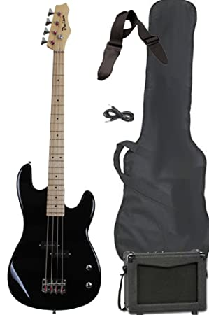 Full Size Electric Bass Guitar Starter Beginner Pack with Amp Case Strap Black