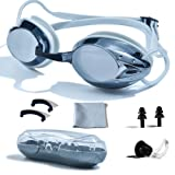 PHELRENA Swimming Goggles, Professional Swim Goggles Anti Fog UV Protection No Leaking for Adult Men Women Kids Swim Goggles with Nose Clip, Ear Plugs, Protection Case and Interchangeable Nose Bridge (Color: Silver, Tamaño: Standard)