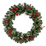 48' Siegal Berry Pine w/ Holly Berries Commercial Christmas Wreath - Unlit