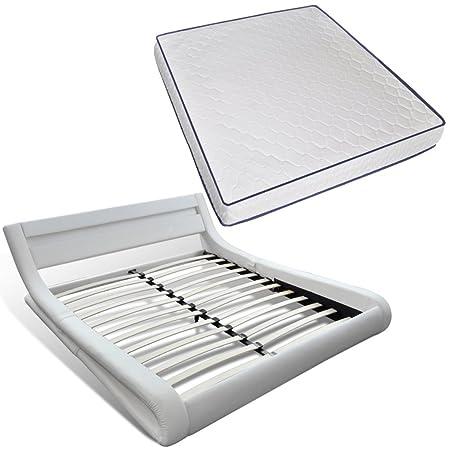 vidaXL Weiß geschungenes Kunstlederbett Memory Foam Matratze/LED Leiste 200x140cm
