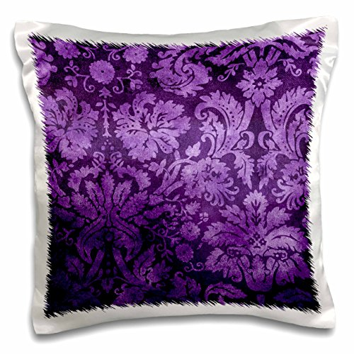 3dRose Decorative Vintage Floral Wallpaper Purple - Pillow Case, 16 by 16-inch (pc_32491_1) Home ...