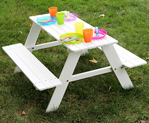 Bigger Kids Picnic Table Solid Wood White 36 X 35 Inches Indoor or Outdoor (Kids Picnic Table Outdoor compare prices)