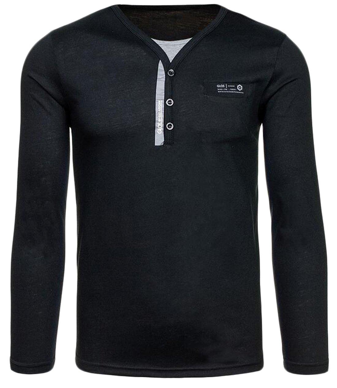 Ekinbrown men 39 s soft buttons v neck long sleeve henley for Black long sleeve henley shirt