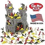 TimMee Dinossaur Mountain Playset: 97pc Dinos vs Cavemen Figures - Made in USA