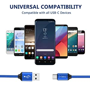 OneKer USB Type C Cable (2-Pack 3.3FT),USB C to USB A Charger Nylon Braided Fast Charging Cord Compatible Samsung Galaxy Note 9 8 S10 S9 S8 Plus,LG G5