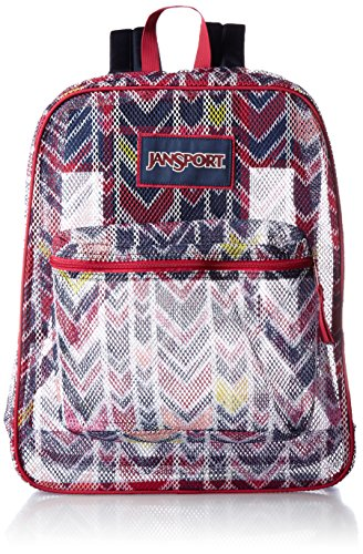 JanSport Womens Classic Mainstream Mesh Pack Backpack - Jansport Navy Watercolor Chevron / 18.6