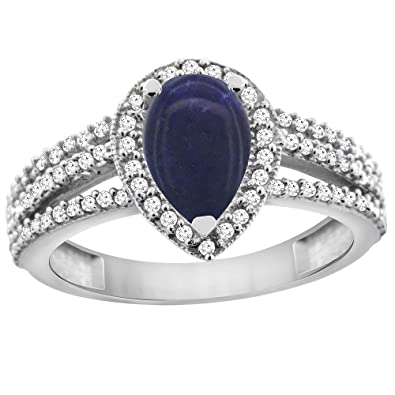Revoni 14ct White Gold Natural Lapis Ring 9x7 Pear Halo Diamond