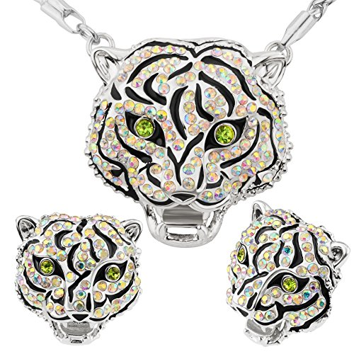 Fashion Jewelry Trends Tiger Head 18k Gold Plated Necklace&Earrings Sets For Women or Men Gift S20187-w
