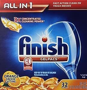 Finish Gelpacs Dishwasher Detergent, Orange Scent, 32 Count
