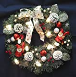 Christmas Pine Wreath with Pinecones, Santa & Lights
