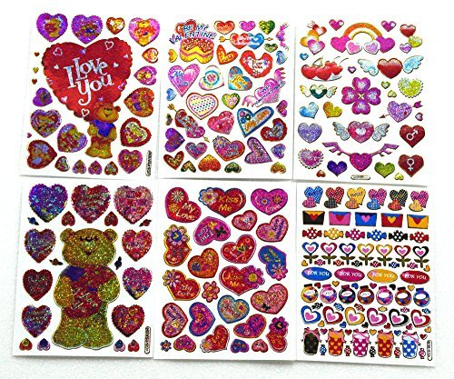 Valentine001 - 6 Sheets of Valentine Stickers - Teddy Bear Stickers - Heart Stickers - I Love You Stickers - Scrapbook Stickers - Reflective Stickers- Size 4 x 5.25 Inch./Sheet