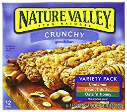 Nature Valley Crunchy Granola Bars, Variety pack of Cinnamon, Oats and Honey 8.98 oz (Pack of 4)