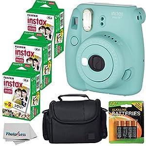 Fujifilm Instax Mini 8+ (Mint)Instant Film Camera W/ Self Shot Mirror + Fujifilm Instax Mini 3 Pack Instant Film(60 Shoots) + Case + Batteries Top Kit - International Version (No Warranty)