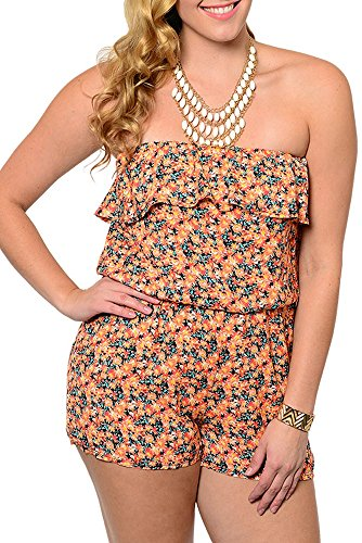 DHStyles Women's Plus Size Trendy Ruffled Floral Print Strapless Shorts Romper