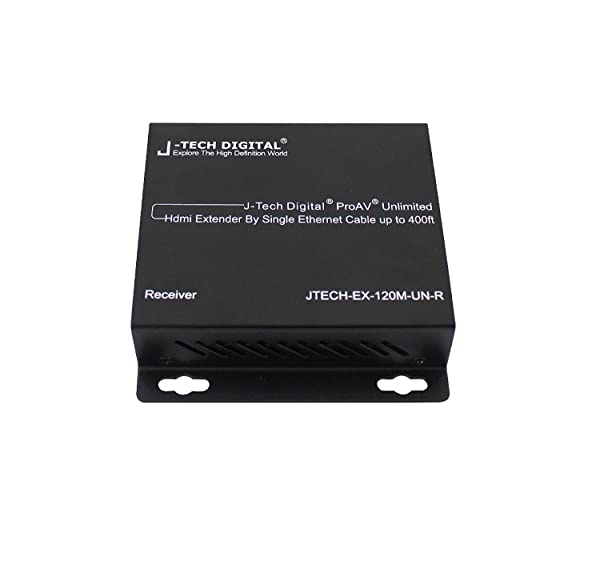 J-Tech Digital ProAV UnlimitedHDMI Extender Over Ethernet Cat6 Extender by Single Ethernet Cable up to 400ft (Receiver Only) (Tamaño: Single Receiver)
