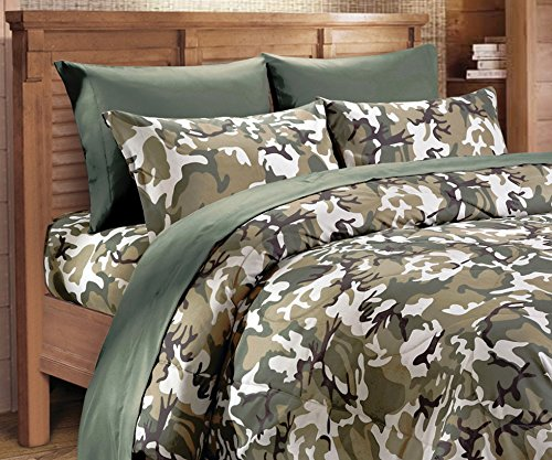 Microfiber 6 Piece Classic Green Camo Bed Sheet & Pillowcase Set (Full, Green) (Camouflage Sheets Full compare prices)