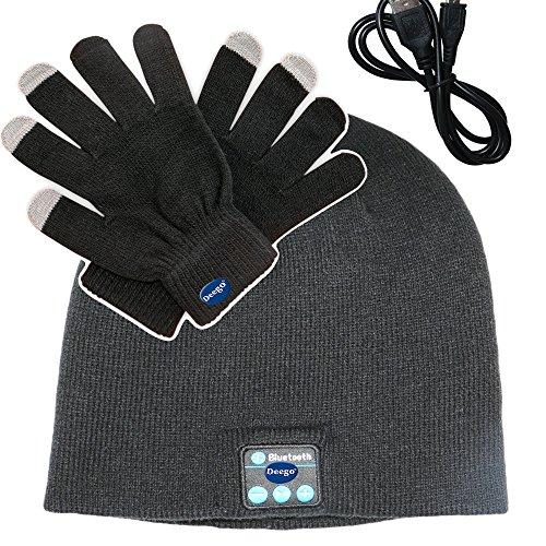 Deego HD Stereo Premium Sports Bluetooth Hat Wireless Smart Beanie Headset Musical Hands-Free Headphone Speaker Hat Speaker phone Cap Microphone + Touch Screen Gloves(Dark Grey Cap*1+Black Gloves*1)