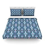 "Kess InHouse Danii Pollehn ""Native Pattern"" Blue Geometric Cotton Duvet Cover, 88 by 104-Inch"