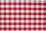 Placemat Set of 4/6 Reversible Square Check Plaid Style Kitchen Table Decor Woven Vinyl Table Placemats Set Home Dinner Decorative by Secret Life (4, Check Red)