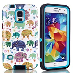 S5 Case,Galaxy S5 Case - SAVYOU Ethnic Elephant Hybrid High Impact Soft TPU + Hard PC Case Cover for Samsung Galaxy S5 i9600(Blue)