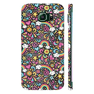 Samsung Galaxy S6 Edge Flowery Rainbow designer mobile hard shell case by Enthopia