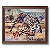 African Elephant Zebra Giraffe Animal Wildlife Home Decor Wall Picture Cherry Framed Art Print