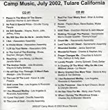 img - for Camp Music: Special Christian Songs recorded live at Tulare, CA in July 2002 book / textbook / text book