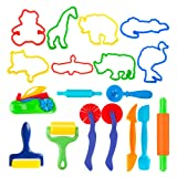 Deardeer Set of 18 PCS Dough Tools Kit with Animal Molds and Models Cutters Dough Playsets Accessories for Kids (Color: 18 Pcs Dough Tools)