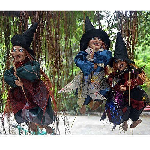 Asher Hanging Witch Ghost-reaper Light & Sound Animated Swingers for Bars Haunted House Yard Graveyard and Outdoor (Broom witch)