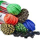 Paracord Planet 550 LB Type III 7 Strand 4mm Tactical Cord with Choices of 10, 20, 25, 50, 100, Feet Hanks or 250 & 1000 Foot Spools With 3/8 Inch Black Buckles - Over 300 Colors To Choose From