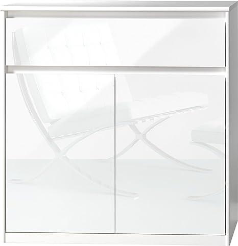 CS Schmalmöbel 75.185.012/23 Grifflose Kommode Soft Plus Smart Typ 23, 45 x 106 x 110 cm, weiß/weiß hochglanz