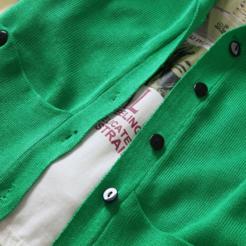 FINEJO Women's Long-sleeve Knitted Medium-long Hooded Cardigan Green [Apparel]