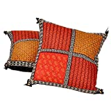 Ufc Mart Bagru Patchwork Pure Cotton Cushion Cover Pair, Color: Multi-Color, #Ufc00512