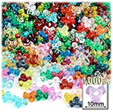 The Crafts Outlet 1000-Piece Plastic Transparent Tri Beads 10mm Multi Mix