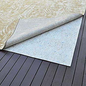 """Rug Pad 5'x5' Central Non-Slip Rubber Rug Pad, Ultra Black, 22- 1/4"""" Thick"""