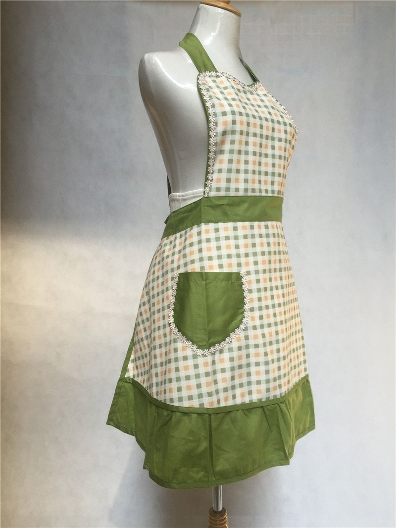 Lovely Sweetheart Retro Kitchen Aprons Woman Girl Cotton Cooking Salon Pinafore Vintage Apron Dress with Pocket,Green 3