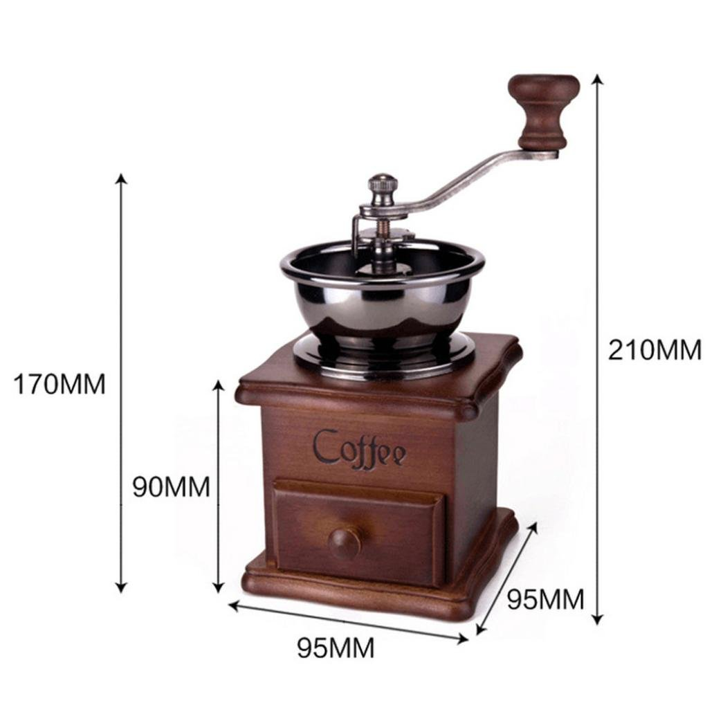 Hotkey Manual Vintage Bronze Coffee Grinder Household Retro Wood Delicate Coffee Mill with Procelain,Durable Hand Grinding Machine 4