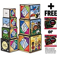 Days Of Creation Stacking And Nesting Blocks Set + FREE Melissa & Doug Scratch Art Mini-Pad Bundle [27779]