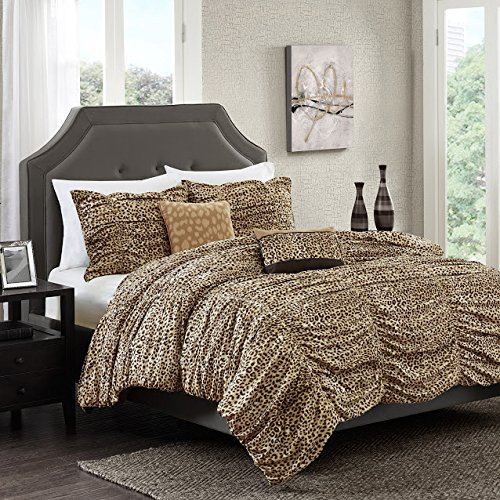 5 Piece Brown Gold Yellow Ruched Cheetah Print Comforter Full Queen Set, Animal Themed Bedding Wild Safari African Pattern Stylish Exotic, Polyester