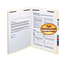 Smead Straight Cut Top Tab Folders with Two 2 Inch Capacity Fasteners 50 Count (14513)
