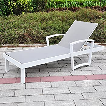 Outdoor Chaise Lounge Reclining Chair Pack of 1, All Weather Resistant Patio Beach Sling Folding Chair, Anti-Rust Aluminum Frame