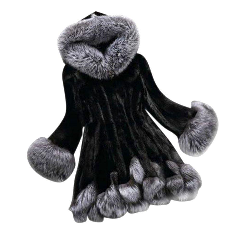 Sungpunet Womens Vintage Faux-Fur Coat With Hood 0